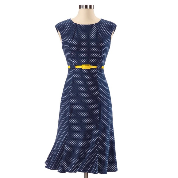 connected apparel Dresses & Skirts - Navy Polka Dot Dress with Yellow Belt SZ 8